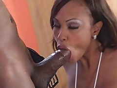 Horny Lacey DuValle sucking huge black sausage