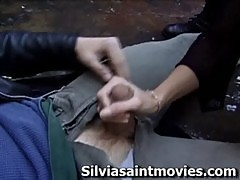 Silvia saint sucks a lucky guy