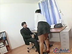 Hot secretary Simone Peach with boss in office