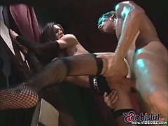 Taylor Rain analed in cool stockings