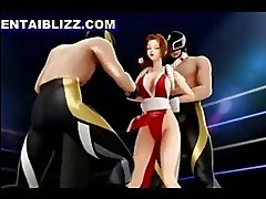 Bondage 3D hentai girl gets smackdown by maskermen