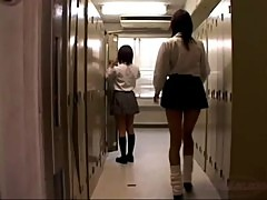 2 Schoolgirls Kissing Sucking Tongues Spitting In The Locker Room