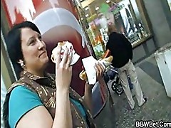 Cute BBW chick is picked up and f...