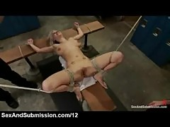 Busty blonde tied up in locker room and flogged