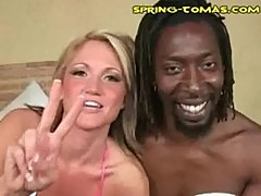 Drunk white girl with black man