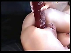 Girl Rides A Lava Lamp While Guys Cum On Her Face