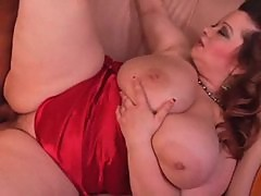 Fat bitch in satin lingerie has sex