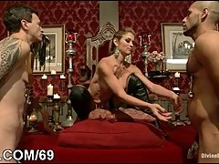 Busty seductive girl with two servants humiliated and strap-on f