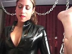 Latex strapon babe fucks his asshole