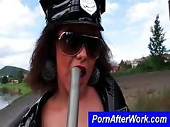 Pornstar Cop Gives This Guy A Blowjob Outside While On Break