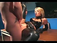 Stunning latex hardcore in police station