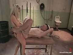 Mistress cbt of her chained slave in dungeon