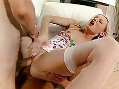 Lucky whore Katy Sweet gets two cocks feeding her warm holes...