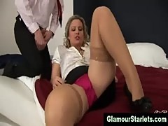 Classy blonde sucks cock while being fucked