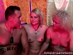 Dirty old prozzie gets spitroasted by a couple of old guys
