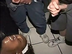 Black amateur at bukkake exhibitionist gangbang