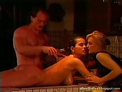 Angelica bella oil massaged and fucked in a ffm threesome