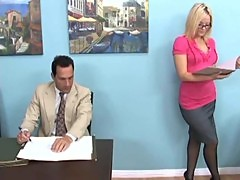 Blonde gives a footjob and foot worship i ...