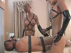 Femdom Handjob by 2 Ladies, Forced to Cum In a Cup