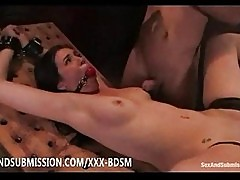 Bondage brunette babe gives fucking and masturbation