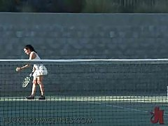 Super Busty Tennis Players Play With A Fucking Machine After Practice