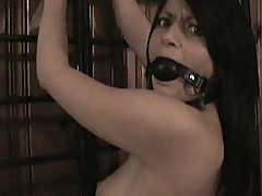 Bound and Gagged Brunette Sex Slave Gets Whipped