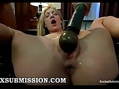Bound blonde fisted and gangbanged