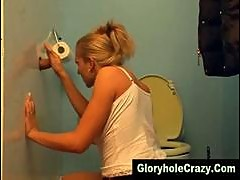 Gloryhole blonde gives gloryhole toilet blowjob